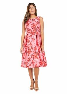 Adrianna Papell Women's Floral Jacquard MIDI Dress Fuchsia/RED