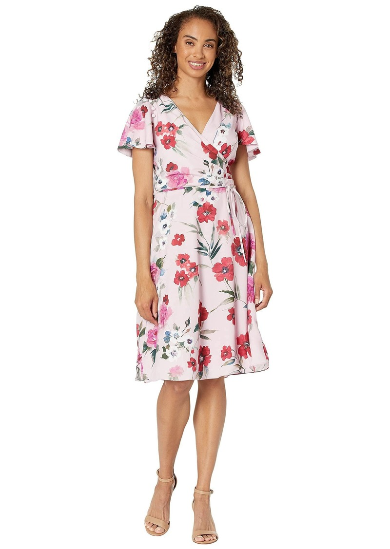 Adrianna Papell Women's Floral Printed Faux WRAP Dress