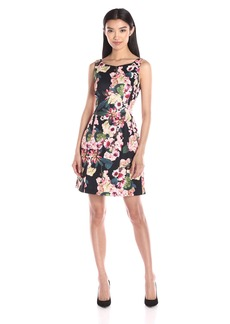 Adrianna Papell Women's Floral Printed Scuba Flared Dress