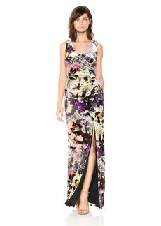 Adrianna Papell Women's Floral Velvet Long Dress