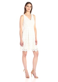 Adrianna Papell Women's Florentine Trellis Lace Halter Neck Fit and Flare