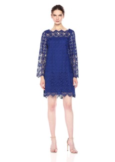 Adrianna Papell Women's Florentine Trellis Shift Boarder Lace Dress