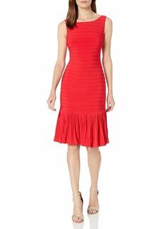 Adrianna Papell Women's Flounce Hem Pintucked Dress