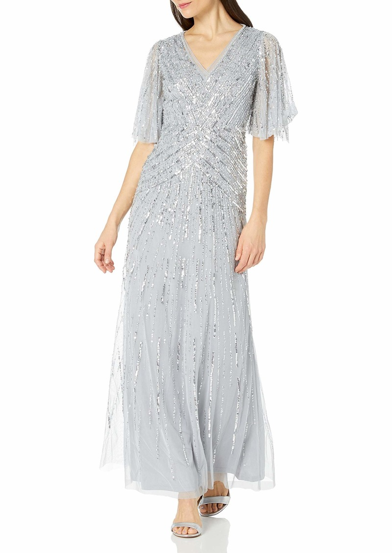 Adrianna Papell Women's Flutter Sleeve Beaded Gown