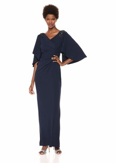 Adrianna Papell Women's Flutter Sleeve Long Jersey Dress with Beaded Shoulders