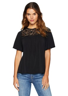 Adrianna Papell Women's Flutter Sleeve TOP with LACE Detail