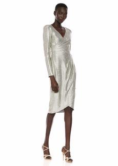 Adrianna Papell Women's Foiled Jersey Wrap Dress