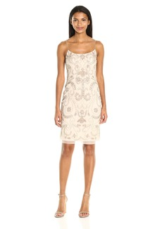 Adrianna Papell Women's Fully Beaded Cocktail Slip Dress