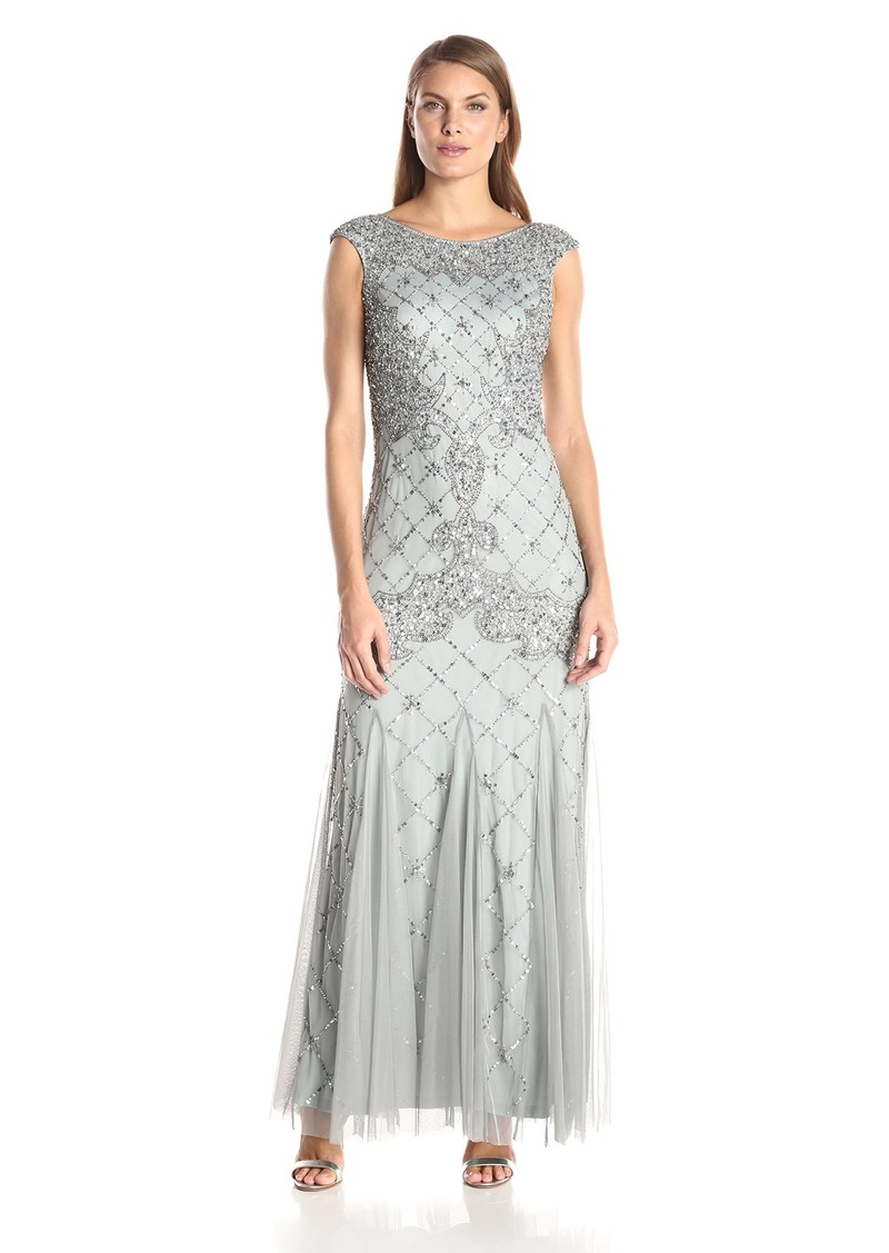 Adrianna Papell Women's Fully Beaded Gown with High Neckline
