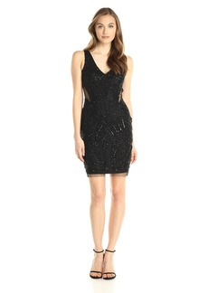 Adrianna Papell Women's Fully Beaded Halter Cocktail Dress