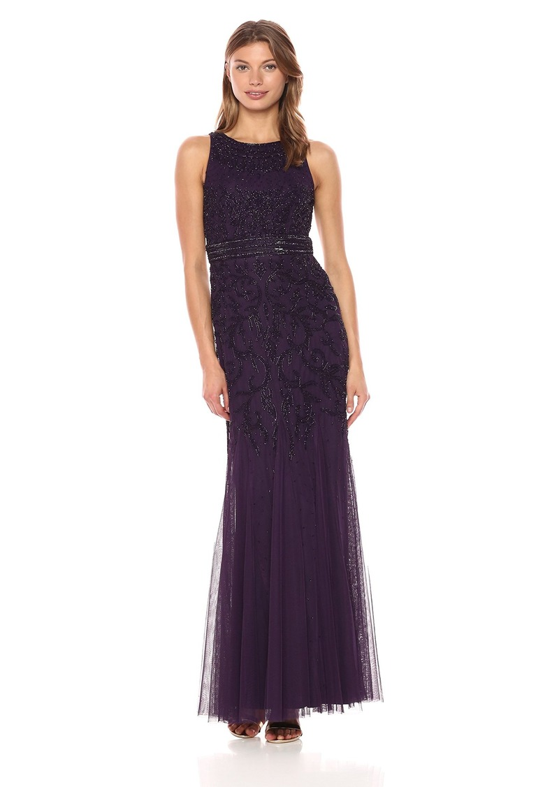 Adrianna Papell Women's Fully Beaded Long Evening Gown