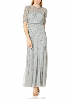 Adrianna Papell Women's Fully Gown with Beaded Waistband and Elbow Sleeves