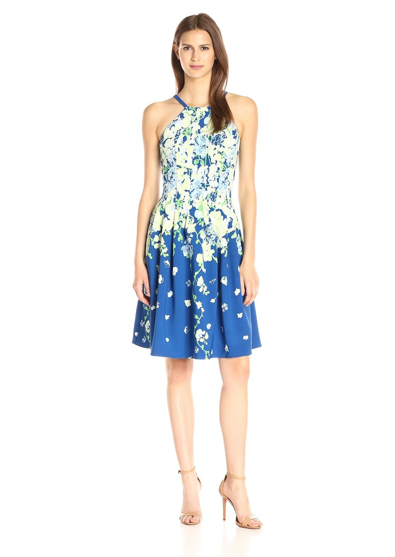 Adrianna Papell Women's Garden Party Placed Floral Print Dress