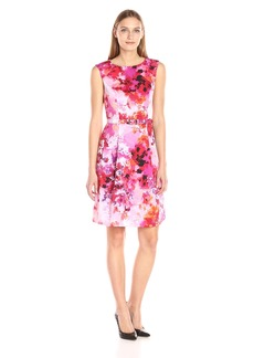 Adrianna Papell Women's Garden Printed Faille Fit and Flare