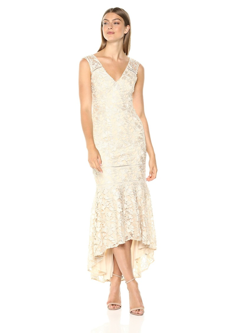 Adrianna Papell Women's Gardenia Guipure Long Dress with Trimming Details