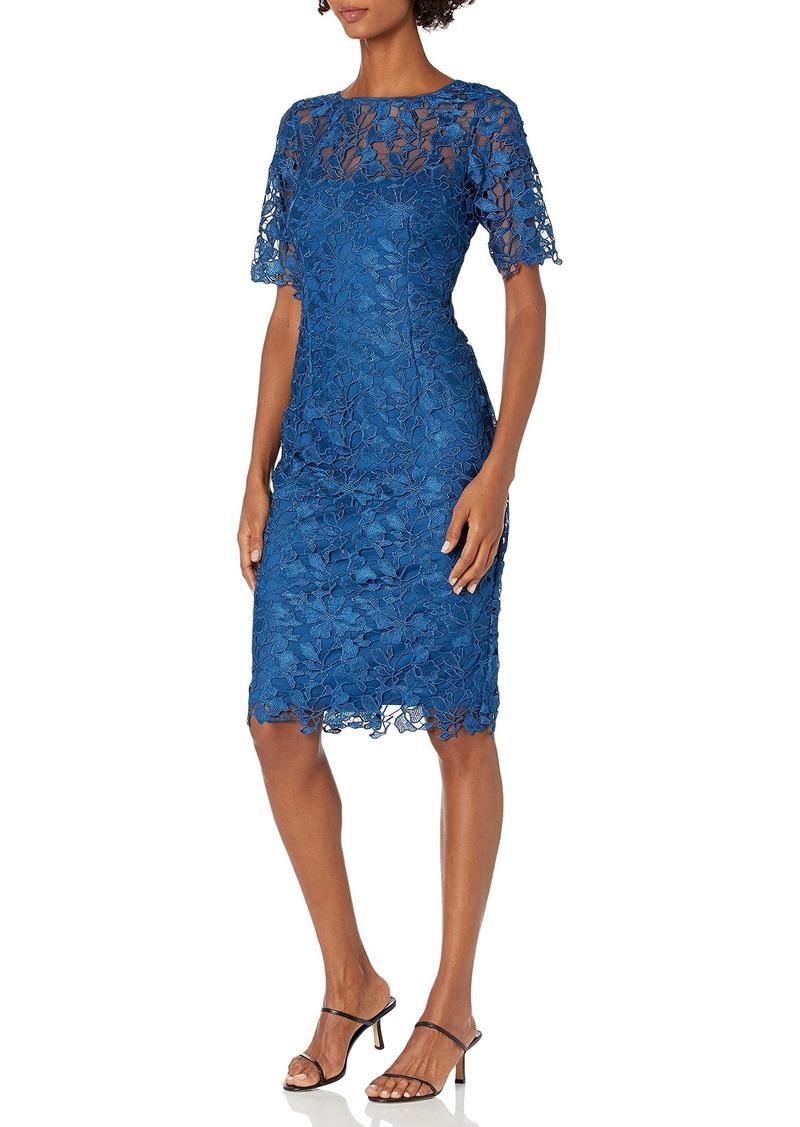 Adrianna Papell Women's Gardenia Guipure Short Dress