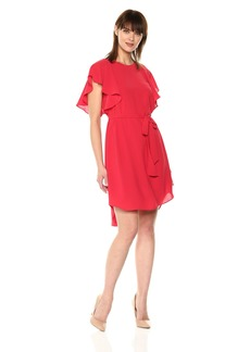 Adrianna Papell Women's Gauzy Crepe Flutter Sleeve Dress red fire
