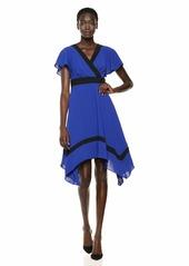 Adrianna Papell Women's Gauzy Crepe Hanky Hem Dress