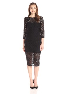 Adrianna Papell Women's Geo Lace Sheath Dress