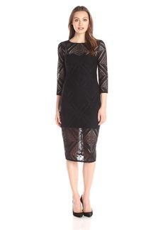 Adrianna Papell Women's Geo Lace Sheath Dress