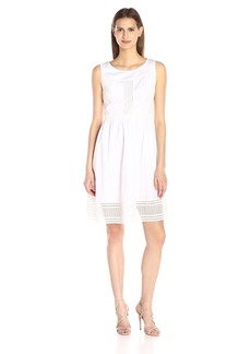 Adrianna Papell Women's Geo Lace Trimmed Cotton Sundress