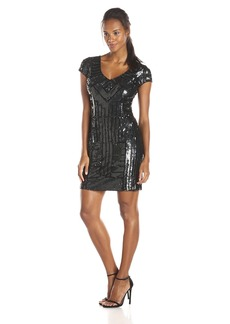Adrianna Papell Women's Geometric Sequin Sheath Dress with Cap Sleeves