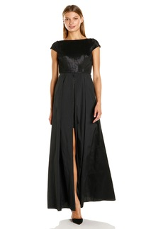 Adrianna Papell Women's Glam Stretch Alternative Gown with Cap Sleeves