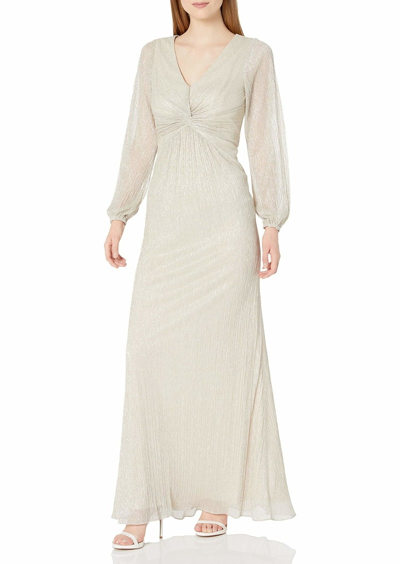 Adrianna Papell Women's Glitter Knit Draped Gown