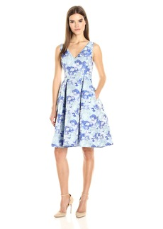 Adrianna Papell Women's Gloria Jacquard Vneck Fit and Flare