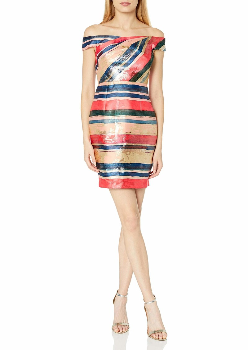 Adrianna Papell Women's Gold Leaf Off The Shouler Striped Cocktail Dress