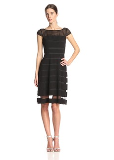 Adrianna Papell Women's Gradiated Chiffon Bands Dress black