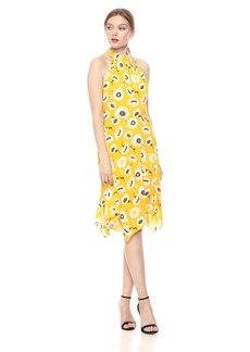 Adrianna Papell Women's Graphic Floral with Hanky Hem Dress