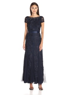 Adrianna Papell Women's Guipure Lace Gown with Godets and Beaded Neckline