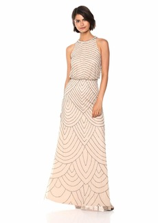 Adrianna Papell Women's Halter Art Deco Beaded Blouson Dress