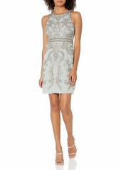 Adrianna Papell Women's Halter Beaded Cocktail Dress Frosted SAGE