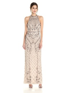 Adrianna Papell Women's Halter Beaded Column Gown