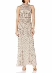 Adrianna Papell Women's Halter Beaded Column Gown