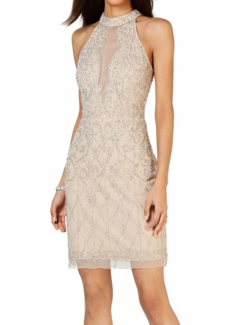 Adrianna Papell Women's Halter Beaded Dress