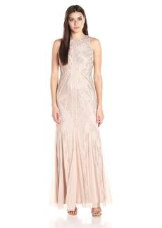 Adrianna Papell Women's Halter Beaded Godet Gown
