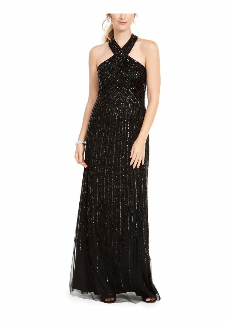 Adrianna Papell Women's Halter Beaded Gown