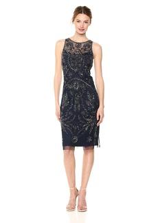 Adrianna Papell Women's Halter Beaded Mesh Sheath Dress with Illusion