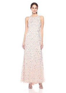 Adrianna Papell Women's Halter Crunchy Beaded Gown