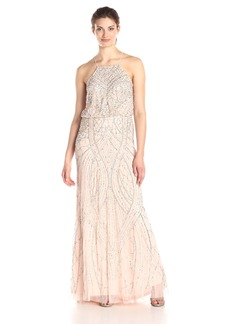 Adrianna Papell Women's Halter Fully Beaded Blouson Gown