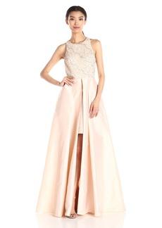 Adrianna Papell Women's Halter Gown with Taffeta Skirt