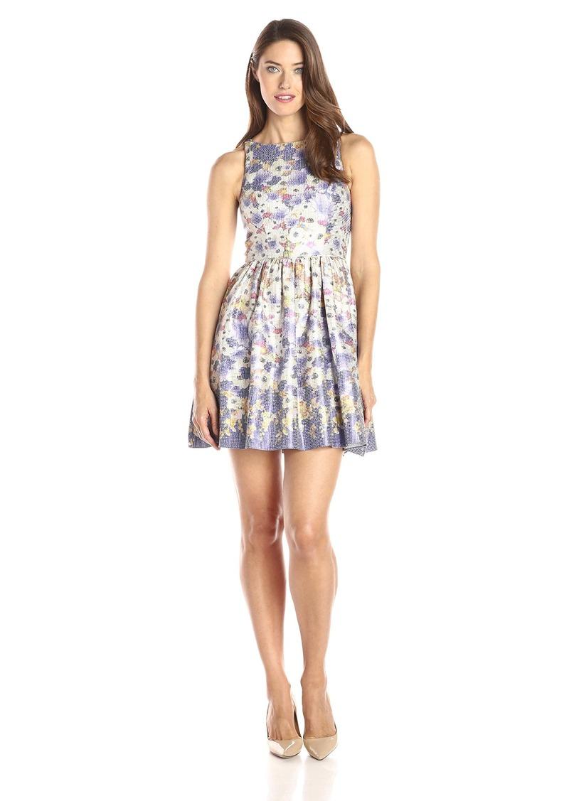 6d1df44f Adrianna Papell Women's Halter Metallic Floral Jacquard Party Dress