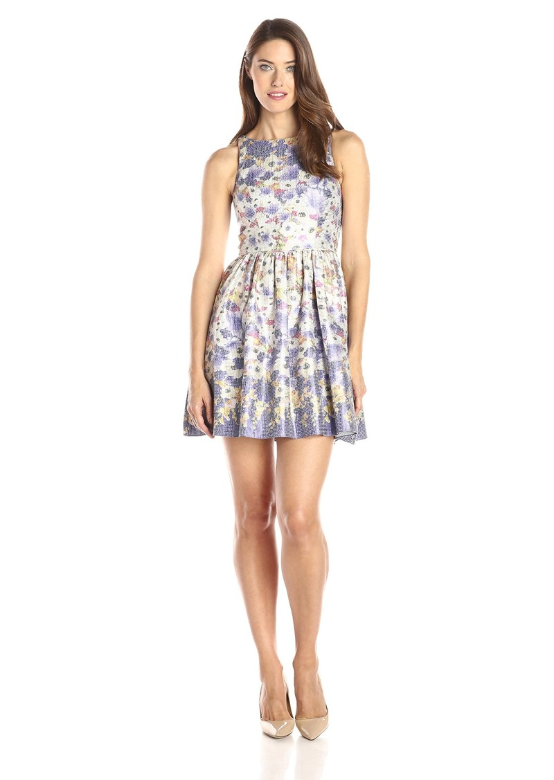 Adrianna Papell Women's Halter Metallic Floral Jacquard Party Dress