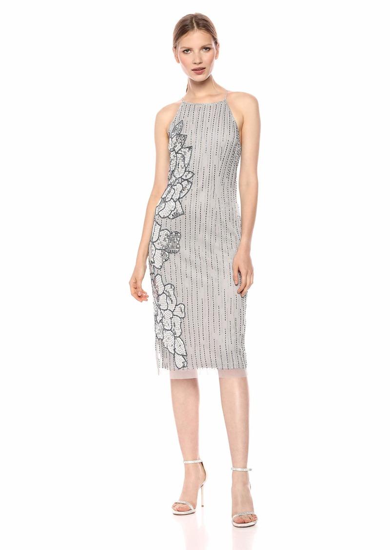 Adrianna Papell Women's Halter Midi Length Beaded Cocktail Dress