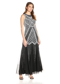 Adrianna Papell Women's Halter Neck Fully Beaded Gown with Godets