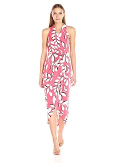 Adrianna Papell Women's Halter Neck High Low Wrap Dress  L