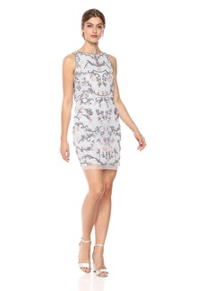 Adrianna Papell Women's Halter Neck Multi Colored Floral Beading Sheath Dress
